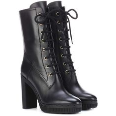 Tod's Plateau Leather Ankle Boots ($995) ❤ liked on Polyvore featuring shoes, boots, ankle booties, black, short black boots, black bootie, ankle boots, black leather boots and leather bootie