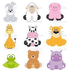 Baby Jungle Animals Cartoon | Cartoon Animals And Pets — Stock Vector © Sonia Berdullas González