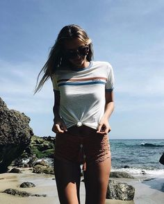 @chasemiller in the striped ringer tee  #rvcawomens | RVCA