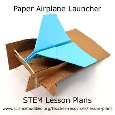 """""""Design a Paper Airplane Launcher"""" lesson plan: practice design and learn about kinetic and potential by designing, building, and testing paper airplane launchers. Science Activities, Science Projects, Activities For Kids, Stem For Kids, Stem Projects For Kids, Easy Crafts For Kids, Science Fair, Airplane, Paper Crafts"""
