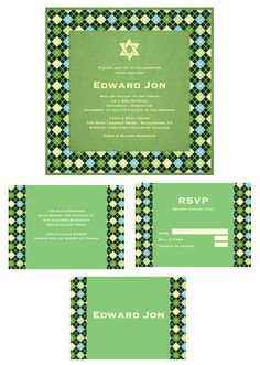 Specialty Triple Layer Invitation.Fairway Green base layer, White Gloss middle layer printed with argyle pattern, Fairway Green top layer with matte ivory foil printing. Choice of design motif at top. Accessories - argyle pattern printed on White Gloss with spring green accent block and text printed in vanilla.