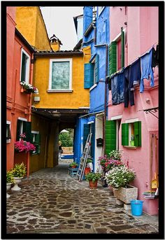 Burano, Venezia, Italy - We visited this very colorful island when we were in Venice; very pretty! 2012