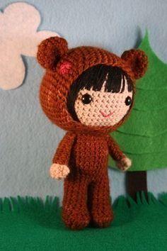 Crochet Pattern- Naomi in the bear costume amigurumi doll