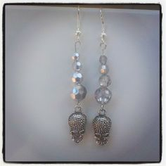 Silver Skull and Bead Earrings $6 Aust. From Rags To Bags on FaceBook.
