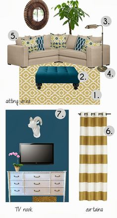 Teal yellow living room mood board