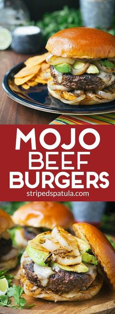 Celebrating #burgermonth with Mojo-Beef Burgers with Tequila-Lime Aioli! These juicy beef patties are infused with Cuban-style Mojo sauce for a festive summer meal!