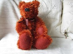 Knitted teddy Knitted bearorange teddy bear by LatharnaBears, £60.00