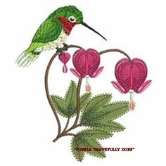 HUMMINGBIRD & FLOWERS - 2 EMBROIDERED HAND TOWELS by Susan