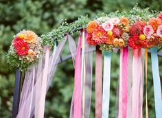 Gorgeous ribbon alter...Orange County Wedding at Franciscan Gardens from Leila Brewster  Read more - http://stylemp.com/soc