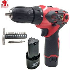 12V 2 batteries Screwdriver Power Tools  Cordless electric Drill Carbon brush   Mini Drill double speed lithium electric drill