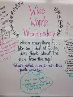 Morning Meeting Question fo the day Wise Word Wednesday - respond to this quote writing prompt bell ringer Morning Activities, Bell Work, Responsive Classroom, Classroom Community, Morning Messages, Morning Sayings, Thinking Day, School Classroom, Classroom Ideas