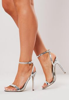 Graduation Picture Ideas Discover Missguided - Silver Barely There Heels Silver Heels Prom, Silver Strappy Heels, Prom Heels, Strappy Shoes, Ankle Strap Heels, Ankle Straps, Stiletto Heels, Cheap Silver Heels, Sparkly Heels
