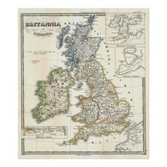 #custom #British Themed #gifts #print #Alleycatshirts -  This is a vintage map of the British Isles produced in 1855.
