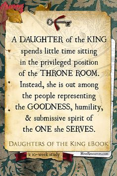 The title Daughter of the King is a resounding call to action
