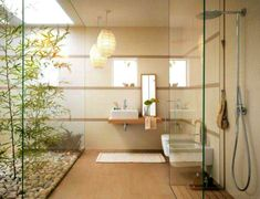 Modern Japanese Style Bathroom Note There Is No Detail In 12 Modern Japanese Interior Style Ideas Japanese Bathroom Pin On Home Design Ideas 41 Peaceful Japanes Zen Bathroom Decor, Asian Bathroom, Bathroom Lighting Design, Bamboo Bathroom, Bathroom Styling, Bathroom Interior Design, Bathroom Ideas, Natural Bathroom, Garden Bathroom