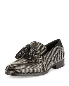 $1,495 - Jimmy Choo - Foxley Micro-Stud Leather Tassel Loafer, Black SOLD by Nieman Marcus