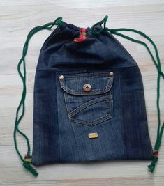 #drarwstring#bag#jeans#diy