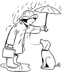 iCLIPART - Royalty Free Clipart Image of a Girl Protecting Her Dog From the Rain With an Umbrella