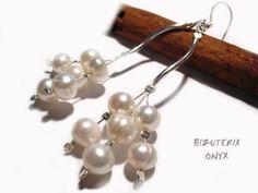 kolczyki - perły naturalne, długość 8cm