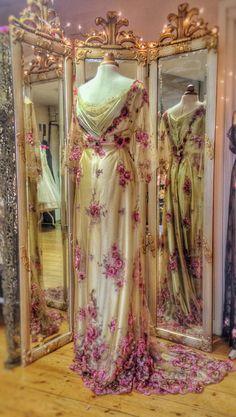 Olive green silk and flower embellished tulle evening/wedding dress by Joanne Fleming Design. Belle Epoque, Edwardian, Art Nouveau, Downton