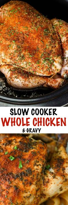 Slow Cooker Whole Chicken & Gravy! A complete Sunday meal in one pot. While it takes only minutes of prep, this tender, juicy chicken & gravy tastes like you've been in the kitchen all day.