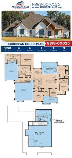 A stunning European home design, Plan 8318-00025 details 3,190 sq. ft., 4 bedrooms, 4.5 bathrooms, split bedrooms, a breakfast nook, a kitchen island, an open floor plan, and a 3 car garage. #europeanhome #europeandesign #onestoryhome #outdoorliving #architecture #houseplans #housedesign #homedesign #homedesigns #architecturalplans #newconstruction #floorplans #dreamhome #dreamhouseplans #abhouseplans #besthouseplans  #homesweethome #buildingahome #buildahome #residentialplans… House Plans One Story, Family House Plans, Ranch House Plans, Cottage House Plans, Craftsman House Plans, Best House Plans, Country House Plans, Dream House Plans, Modern House Plans