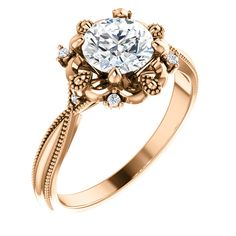 Rose gold Semi-set Engagement Ring set with a mm Round CTW Diamond. Also available in White gold, Yellow gold and Platinum. Smaller center diamond is available as well. Engagement Ring Settings, Wedding Engagement, Diamond Engagement Rings, Wedding Rings, Resin Ring, Rings Online, Her Style, Floral Design, White Gold