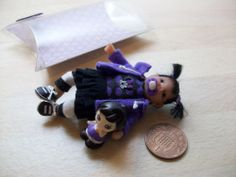 b'ful OOAK gothic baby girl/toddler + toy 1/12, dolls house