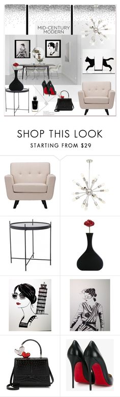"""""""Clean Spaces: Mid-Century Modern"""" by zouus ❤ liked on Polyvore featuring interior, interiors, interior design, home, home decor, interior decorating, Baxton Studio, Christian Louboutin, Giorgio Armani and modern"""