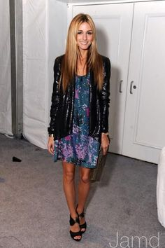 Olivia Palermo wearing Seril Knockout Clutch Diane von Furstenberg Brady Jacket Zara sandals in black