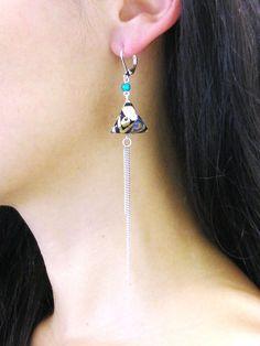 Boucles d'oreille / Berlingot en Origami pour La Cigale