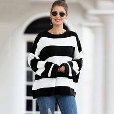 Autumn and Winter New Women's Sweater Women's Curled Round Neck Striped Striped Color-matching Sweater Knit Sweater Women Cool Sweaters, Sweaters For Women, Women's Curling, Matching Sweaters, Cropped Sweater, Sweater Outfits, Korean Fashion, Autumn, Korean Style