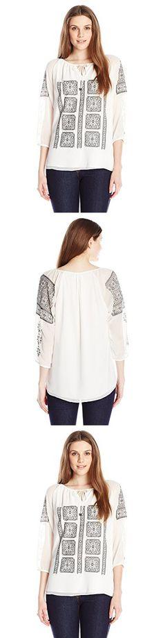 Calvin Klein Women's Blouse with Embroidery, Soft White, Medium
