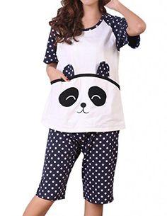 VENTELAN Women's Cartoon Cute Polka Dot Panda Short Sleeve Pajamas Sleepwear VENTELAN Pajamas http://www.amazon.com/dp/B00LHE1BCO/ref=cm_sw_r_pi_dp_e20hub1APM4E1