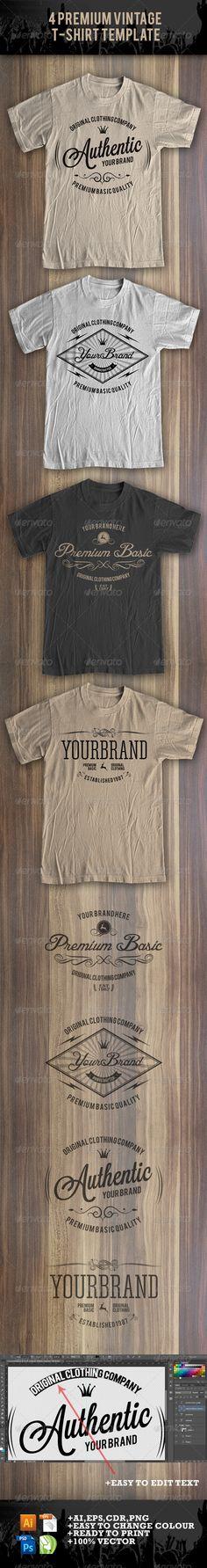 4 Premium T-Shirt Template Vector EPS, AI. Download here: http://graphicriver.net/item/4-premium-tshirt-template/8369029?ref=ksioks