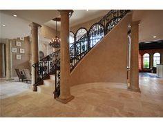 I love rod iron stairways. Stair Railing, Railings, Dream Homes, My Dream Home, Future House, My House, Decor Interior Design, Interior Decorating, Extravagant Homes