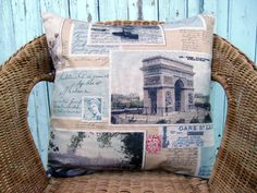 throw pillow cover  travel pillow  Rome pillow  Paris by chezlele,