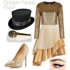 Human Golden Freddy by hellothere-peoplesoftheearth on Polyvore featuring polyvore fashion style Jaded London Zimmermann Dorothy Perkins fnaf humanfnaf
