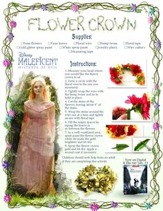How to Make Your Maleficent: Mistress of Evil Family Movie Night Magnificent Diy Flower Crown, Floral Crown, Diy Flowers, Disney Princess Tattoo, Punk Princess, Tattoo Disney, Glitter Spray Paint, White Spray Paint, Family Movie Night