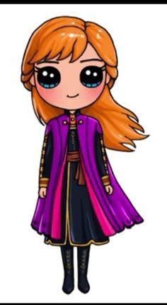 Kawaii Girl Drawings, Cute Food Drawings, Cute Animal Drawings Kawaii, Cute Disney Drawings, Cute Cartoon Drawings, Disney Princess Drawings, Cute Girl Drawing, Girly Drawings, Cartoon Girl Drawing