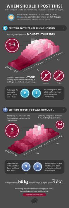 Qual è l'orario migliore per condividere le post su Facebook e Twitter? Questa infografica lo spiega. #socialnetwork #publicrelations #relazionipubbliche