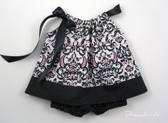 Elegant Infant Dress with Matching Bloomers - Parisian Inspired Black White and Pink Pillowcase Dress- Sizes Newborn, 6, 9, or 12 Months. $33.00, via Etsy.