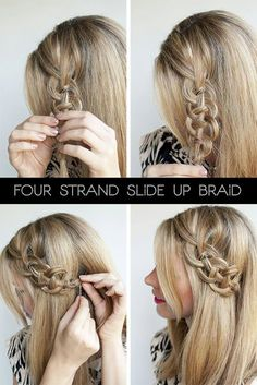 4-strand slide braid tucked beneath hair. This looks a bit tricky but with practice I'm sure I could do it!