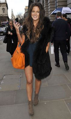 Binky Felstead with orange Hermes