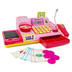 Boley Kids Toy Cash Register - Pretend Play Educational Toy Cash Register with Electronic Sounds, Play Money, Grocery Toys, and More! Little Girl Toys, Toys For Girls, Toddler Toys, Kids Toys, Shopping Games, Cash Register, Play Money, Educational Toys For Kids, Bath Toys