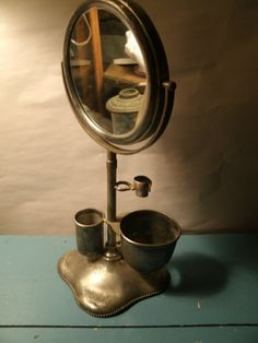 Antique / Vintage Shaving Mirror Stand with by TheProfessorsAttic, $95.00