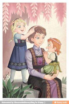 Elsa, Mom, and Anna