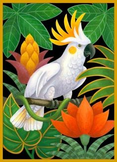 cockatoo-and-flowers