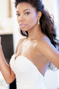 Gabrielle Union Shares Her Wedding Photos - See Her Dress!: Photo Gabrielle Union poses with her new husband Dwyane Wade in this beautiful new photo from their wedding over the weekend! Celebrity Wedding Hair, Wedding Hair And Makeup, Celebrity Weddings, Black Bridal Makeup, Hair Makeup, Black Wedding Hairstyles, Black Women Hairstyles, Diy Hairstyles, Layered Hairstyles