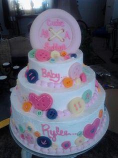 Girls cute as a button cake